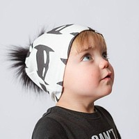 Baby Hat Black Pompom Baby Cap Autumn Winter Cotton Printing Baby Caps Faux Fur Kids Hats For Boys And Girls Pom pom Beanie