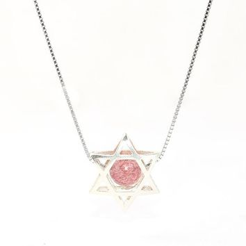 Star of David 925 Sterling Silver Stone Choker Necklaces For Women