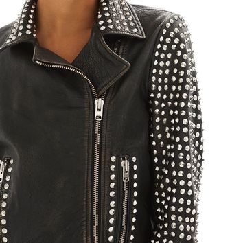Topshop Frazey Stud Biker Leather Jacket | Nordstrom