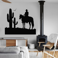 Vinyl Wall Decal Cowboy Wild West Cactus Boy Room Stickers Decor Unique Gift (ig4766)