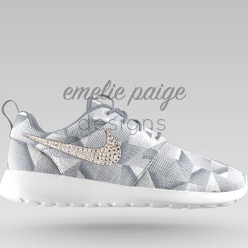 Custom Nike Roshe One (Gray Geometric) casual shoes with Swarovski Crystals