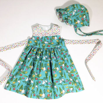 18 month baby dress easter outfit infant set baby bonnet baby outfit easter dress blue floral dress bunnies and jellybeans spring dress