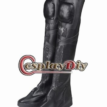 CREYON5U Apocalypse Cosplay Superhero Women Boots Tempestade Ororo Munroe Halloween Carnaval Couro Boots Black Knee High Boots