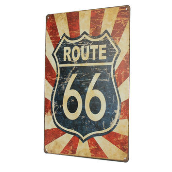 Best Gift 1pc Route 66 Antique Vintage Metal Tin Sheet Sign Poster Wall Decor Home Pub Bar 20x30cm