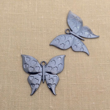 2 pcs, Butterfly Pendant, Gunmetal Findings, Black Metal, Nature Theme, Large Pendant Jewelry Making Supply, A0158