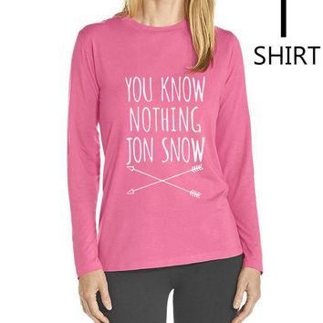 """Pink and White """"You Know Nothing Jon Snow"""" Women's long sleeve T shirts"""