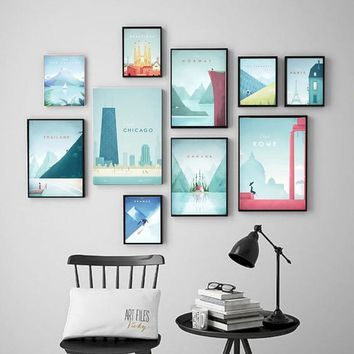 Famous World Travel London Poster Series Attractions Canvas Painting Wall art Posters and Prints Pictures For Living Room Decor
