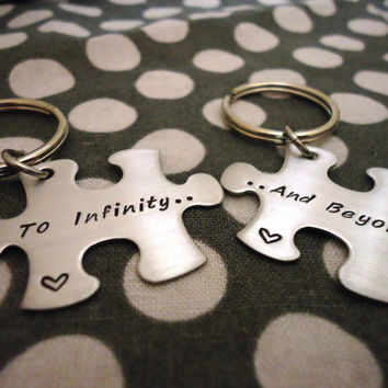 Personalized To Infinity And Beyond Puzzle Piece Key Chain Set