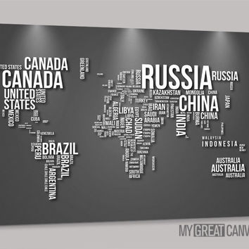 Large Wall Art Canvas Typography Gray and Black World Map Canvas Prints | Wall Art Map Canvas | Type World Map Canvas Painting