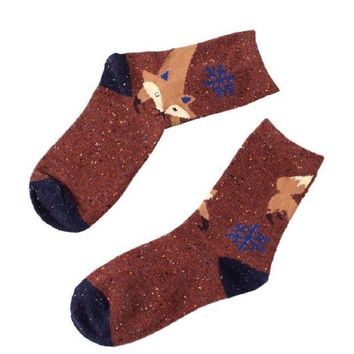DCCKNY1 Ikevan 1 Pair Women Cute Animal Design Fashion Casual Soft Wool Cotton Socks Fox Snowflake Socks (Coffee)