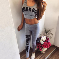 Work Out Letter Print Sleeveless Top and Pants