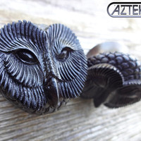 "New Pair OWL PLUGS Hand Carved Ebony Design -Size 5/8"" // SALE"