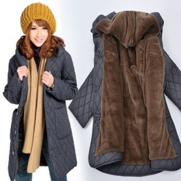 Loose plus size coat clothing women's fertilizer coats winter fashion 2014 long jacket women outerwear 6XL medium-long xxxxxxl = 1958491780