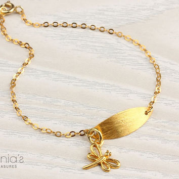 Dragonfly bracelet gold leaf bracelet by DeniasTreasures on Etsy