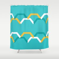 Teal Steps Shower Curtain by spaceandlines