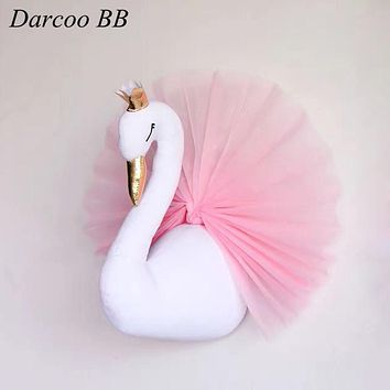 3D Crown Swan Wall Hanging Stuffed Toy Dolls For Girls Animals Kids Room Wall Mounted Decor Birthday Christmas Gifts