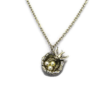 bird nest necklace, short necklace, antique silver, love intention, family gift,mothers love,gift for her,gift for mother,gift for daughter