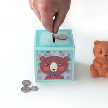 Animals Coin Bank - Bear, Owl, Elephant and Cat savings Bank - Animal Illustrations by Walter Silva - ART BLOCK Cube - Penny Bank