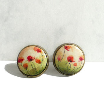 Chic Poppies Stud Post Earrings, Hand Painted Stud Earring, Unique Earrings, Flower Jewelry Miniature Painting Poppies Fine Art by Artdora