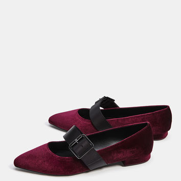 Velvet ballerinas with buckled ankle straps - SHOES - Bershka United Kingdom
