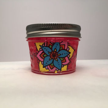 Hand-painted mini mason jar candle