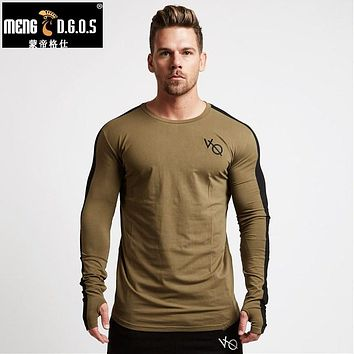 Autumn Men long sleeved t shirt cotton sleeve gyms Fitness workout clothing male Casual tops