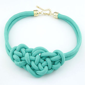 N022  Fashion Pendant Choker Necklace For multicolor Creative Women Cotton Handwoven Rope Jewelry Charm Chinese Knot Necklace