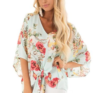 Teal Floral Blouse with Front Knot Detail