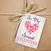 9 Valentine's Day Gift Tags, To My Sweet Valentine 2.5 x 3.5 Hang Tag, Handrawn Heart Product Tag With Jute Twine, Love Greeting