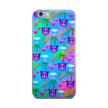 Key Pink Hearts Palm Tree Blue Diamond & Purple Devil Emoji Collage Teen Cute Girly Girls Tie Dye Sky Blue iPhone 4 4s 5 5s 5C 6 6s 6 Plus 6s Plus 7 & 7 Plus Case
