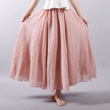 High Quality Vintage Plump Flowy Gorgeous Double Layered Pleated Linen Maxi Skirt