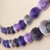 Garland paper flowers lavenders & grays Wedding, home decor, baby shower or baby's room