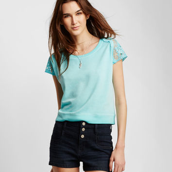 Lace Cap Sleeve Crew Top