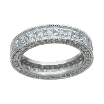 925 Sterling Silver Eternity Ring 1.5 Carat Weight- Size 7