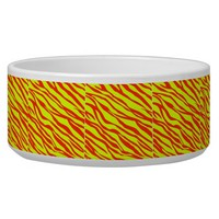 Cherry Red and Neon Yellow Zebra Striped Dog Water Bowl