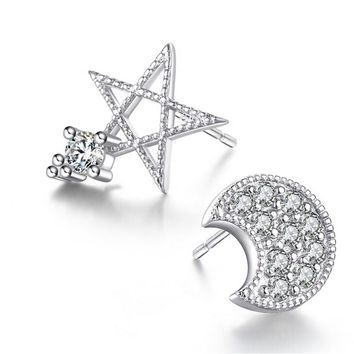 Moon and Stars 925 Silver Crystal Tiny Studs Earrings +Gift Box