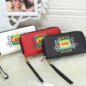 DCCKXT7 Gucci' Women Wristlet Purse Personality Fashion Graffiti Letter Logo Print Long Section Double Zip Multifunction Wallet Clutch