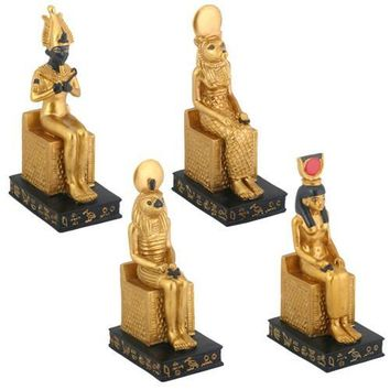 Egyptian Gods Seated Osiris Sekhmet Horus Isis Miniature Set of 4 3.75H