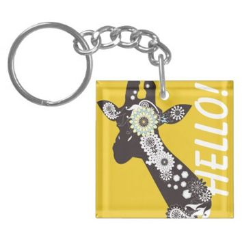Funky Paisley Giraffe Cool Key Chains: Wild Animal Funny and Girly Design Keychains