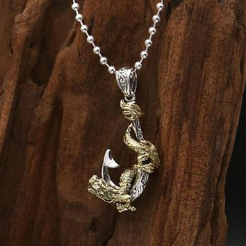 Rock Pirate anchor dragon Pendant 100% Real 925 sterling silver necklace pendant for women men Christmas gift jewelry Z61
