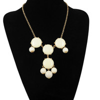 SALE white 4 stone Bubble Necklace,Handmade Bib Necklace,Statement Neckalce-S4001