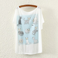 White Cats Print T-Shirt