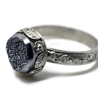 Silver Druzy Agate Ring, Renaissance Ring, Futuristic Ring, Flowers and Leaves, Handforged Cocktail Ring