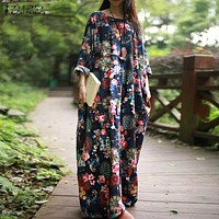 Women's Vintage Floral Printed Dresses/Batwing Long Sleeve Pockets/Casual Loose Vestidos/Plus Size