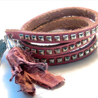 Pink Studded Leather Wrap Bracelet Bohemian Gypsy Hippie