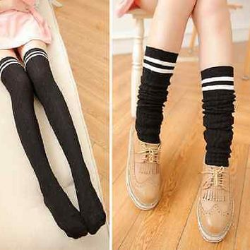 Women Knit Cotton Over The Knee Long Socks Striped Thigh High Stock Socks New