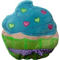 Plush Cupcake Pillow - Green and Blue