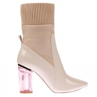 Thea High Ankle Boot In Nude Patent With Pink Heel