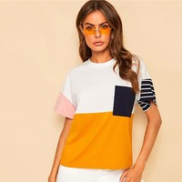 Multicolor Pocket Front Color Block Tee Casual T Shirt Women Striped Short Sleeve Streetwear Loose Tshirt Tops