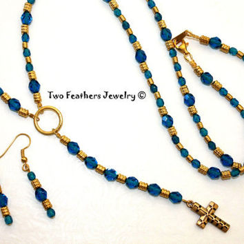 Rosary Necklace - Matching Earrings - Cross Necklace - Blue Czech Glass - Blue And Gold - Gift For Her - Christian - Faith - Mothers Day